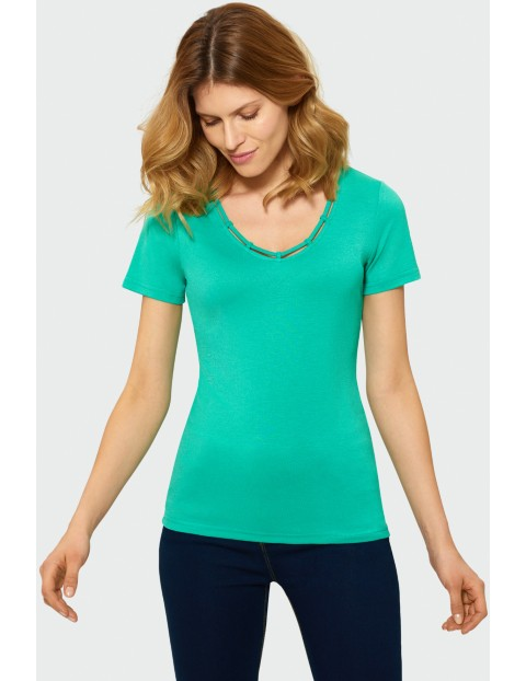 Zielony top damski z krótkim rękawem