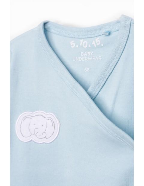 Kaftanik niemowlęcy kopertowy ze słonikiem - niebieski