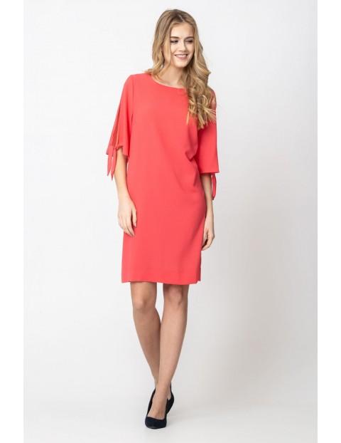 Swobodna luźna sukienka damska- czerwona