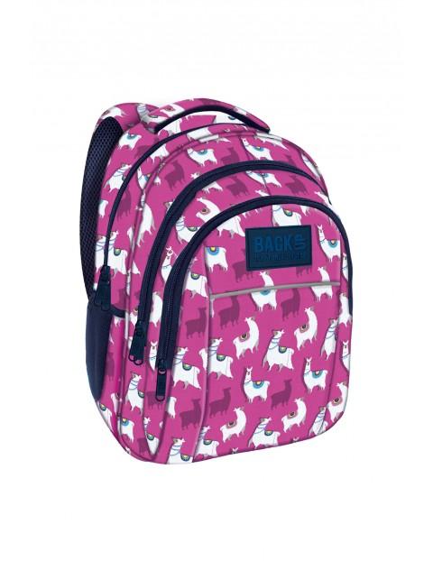 Plecak dziewczęcy w lamy różowy 3komorowy BackUp
