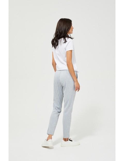 Spodnie damskie w paski - szare