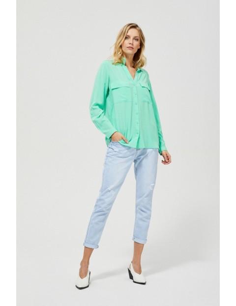 Seledynowa koszula z długim rękawem