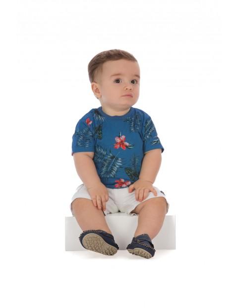 T-shirt niemowlęcy niebieski w kwiaty