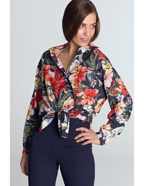 Damska koszula w kwiaty z długim rękawem