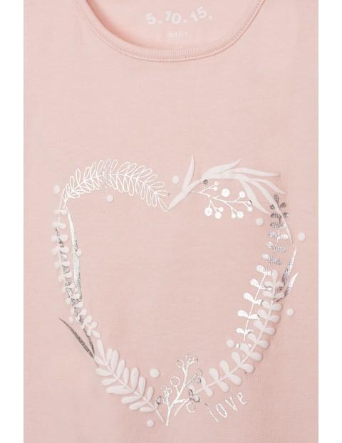 Body dziewczęce z serduszkiem - różowe