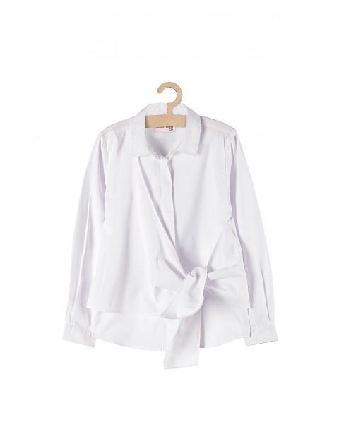 Biała koszula dla dziewczynki- ozdobne wiązanie