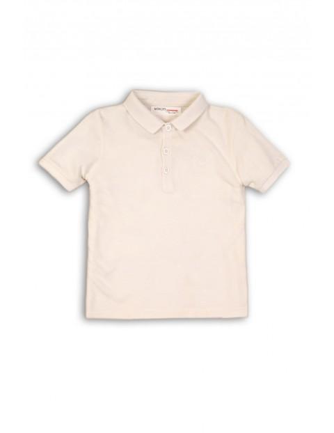 Koszulka chłopięca biala z kołnierzykiem