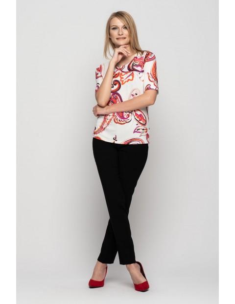 Bluzka damska w kolorowe wzorki - krótki rękaw