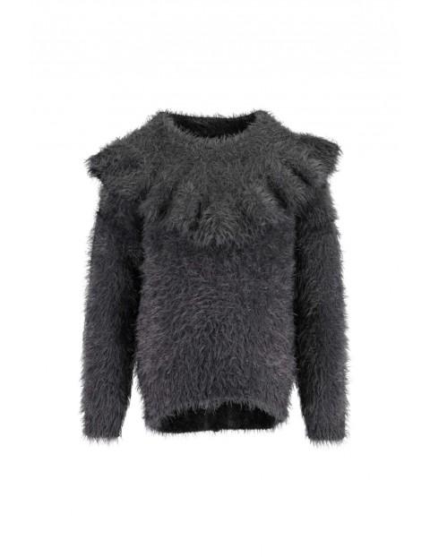 Sweter dziewczęcy szary z falbanką
