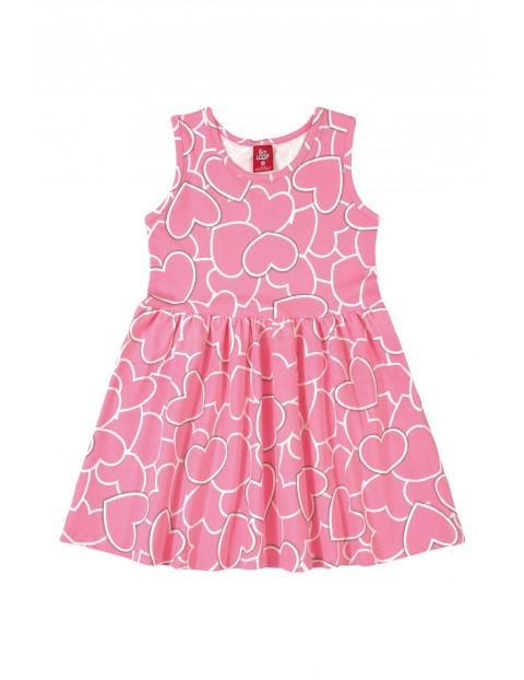 Sukienka dziewczęca w serduszka - różowa