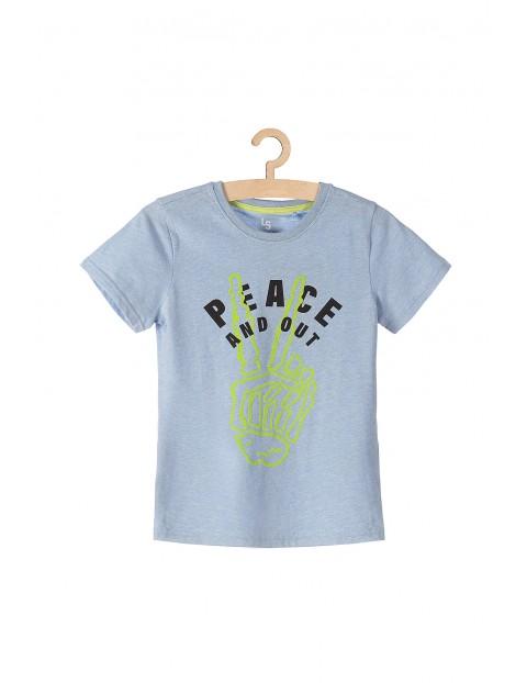 T-shirt chłopięcy niebieski z bawełnianej dzianiny