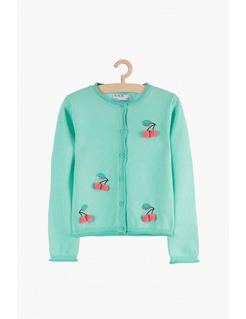 Sweter dziewczęcy zielony- wisienki 3D