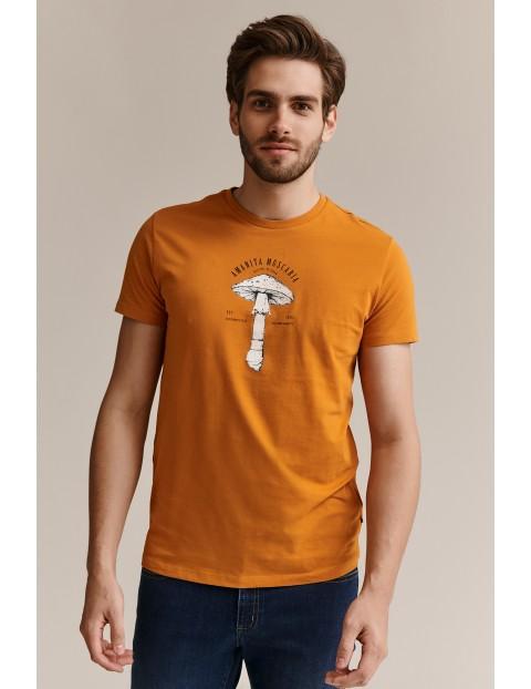 Bawełniany t -shirt męski z nadrukiem - pomarańczowy
