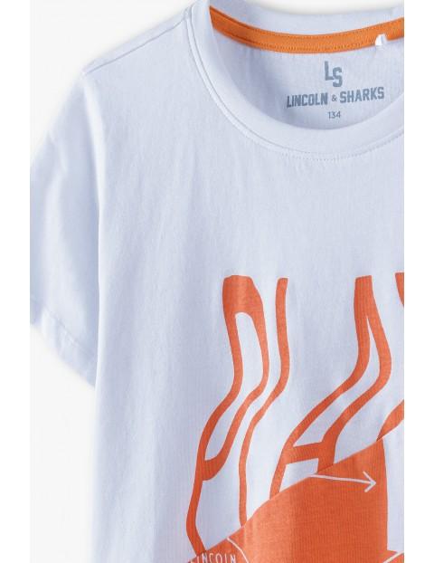 Bawełniany t-shirt chłopięcy dwukolorowy z napisem