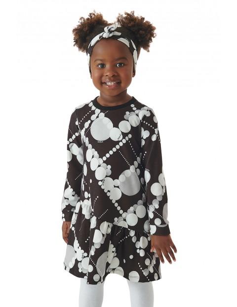 Sukienka dziewczęca z długim rękawem w kółeczka