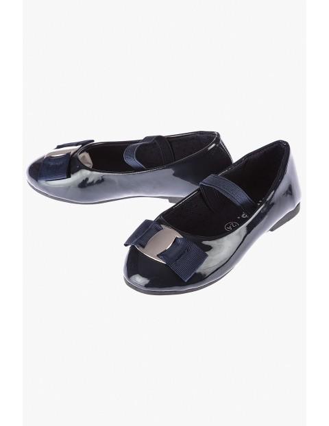 Baleriny dziewczęce granatowe-eleganckie buty dla dziewczynki