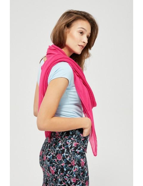 Szal damski plisowany w kolorze różowym