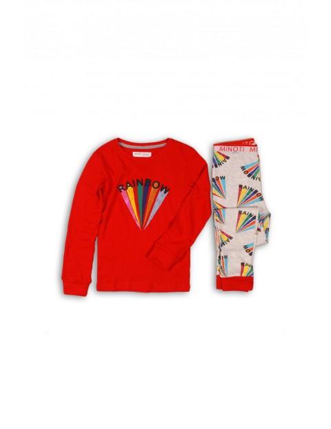 Pidżama dziewczęca czerwona z tęczą