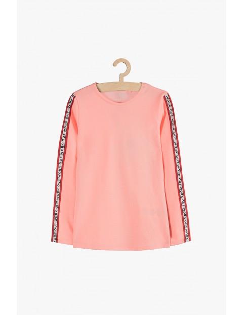 Bluzka z długim rękawem różowa z lampasami na rękawach