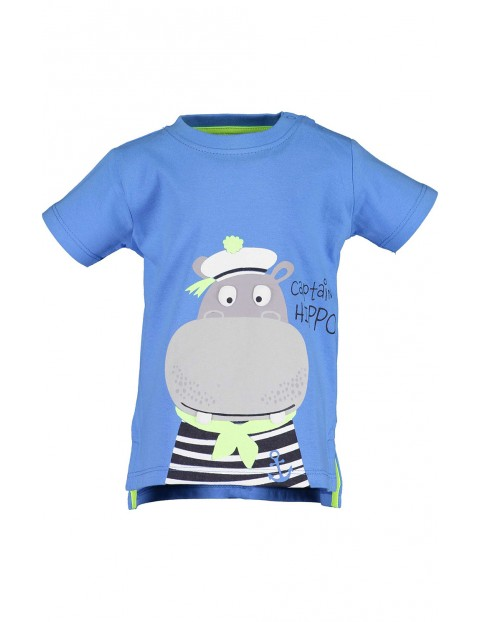 Koszulka chłopięca niebieska z hipopotamem