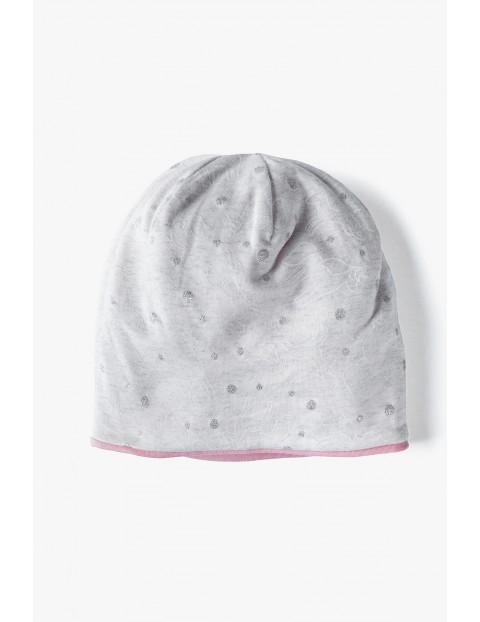 Dzianinowa przejściowa czapka dla dziewczynki - szara