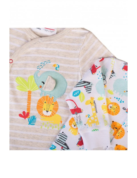 Bawełniane pajace niemowlęce z długim rękawem Safari 2-pak