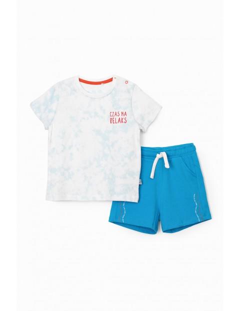 Komplet niemowlęcy- T-shirt i dzianinowe szorty - Czas na relaks