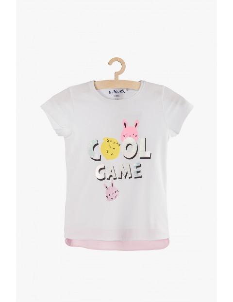 """Biały t-shirt dla dziewczynki """"Cool girl""""- holograficzny nadruk"""