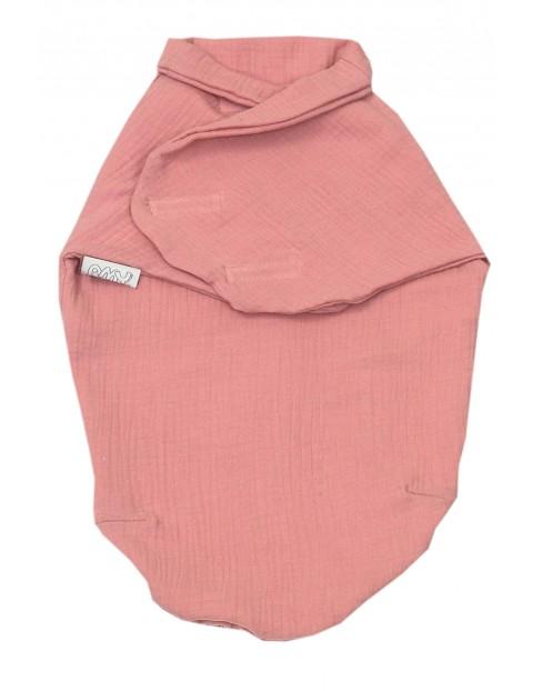 Otulacz niemowlęcy muślinowy 72x60cm różowy
