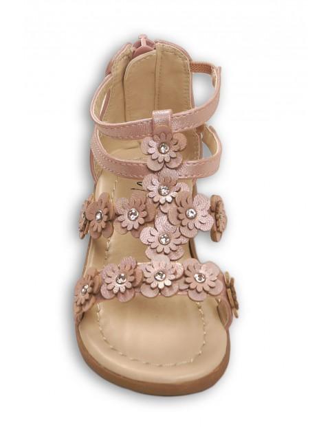 Sandały dziewczęce różowe w kwiaty