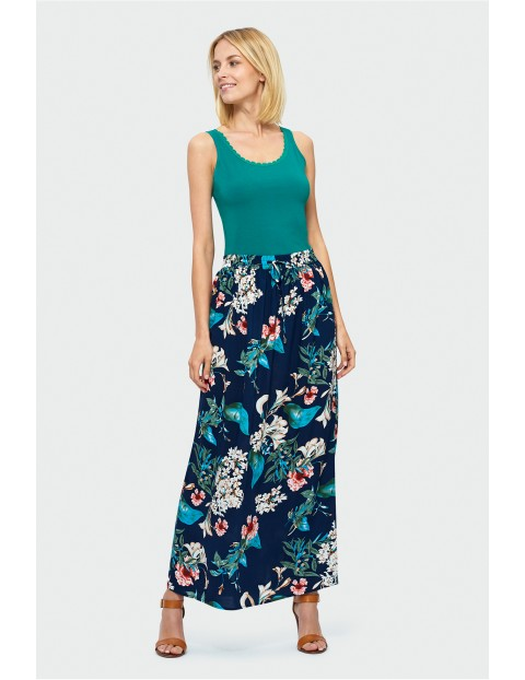 Długa spódnica na gumce - granatowa w kwiaty