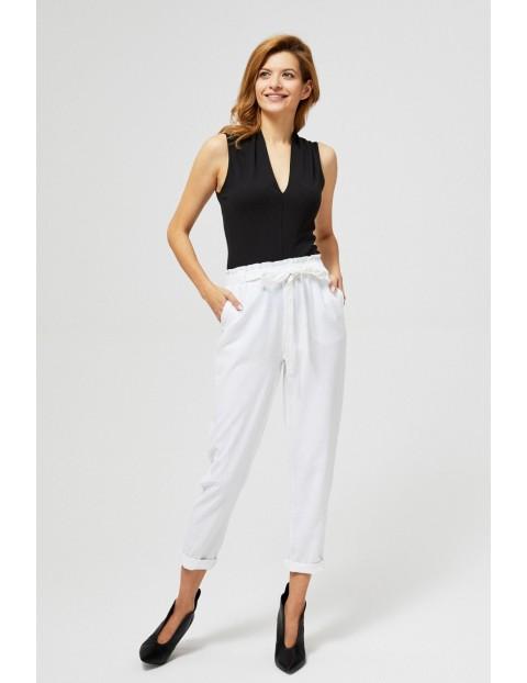 Spodnie z domieszką lnu białe