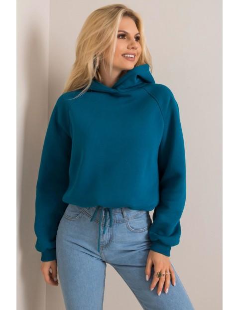 BASIC Bluza damska z kapturem - niebieska