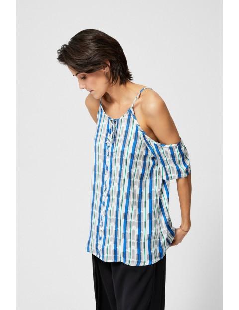 Bluzka damska koszulowa typu top biała we wzory