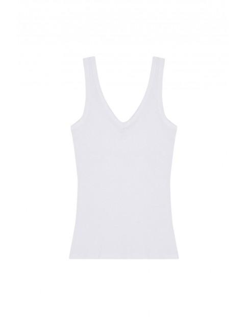 Bawełniany top z grubymi ramiączkami biały