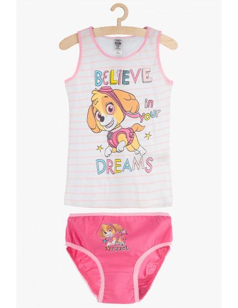 Dziewczęcy komplet bieliźniany: majtki i koszulka Psi Patrol- różowy