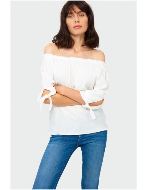 Bluzka damska biała rękaw 3/4 z wiązaniem