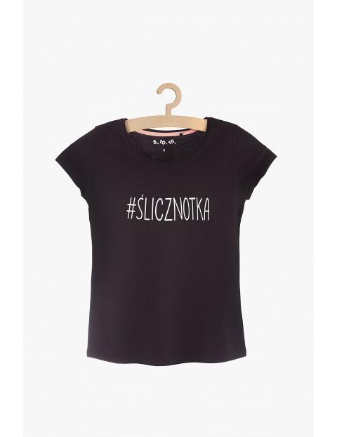T-shirt damski czarny z napisem #Ślicznotka