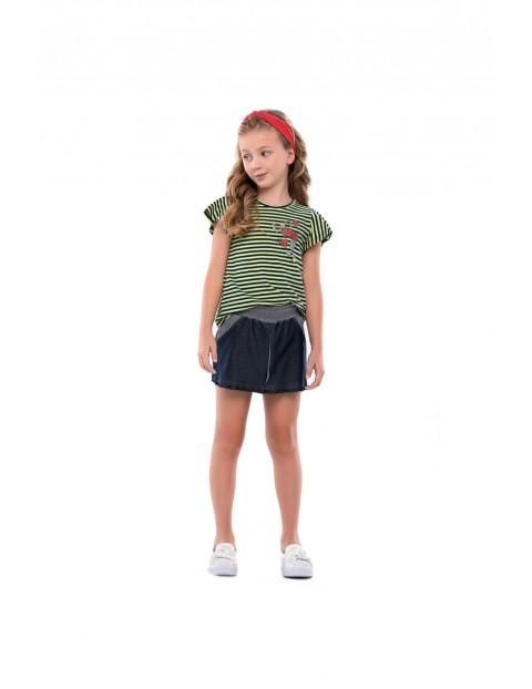 Komplet dziewczęcy spódnico-spodnie i t-shirt w paski