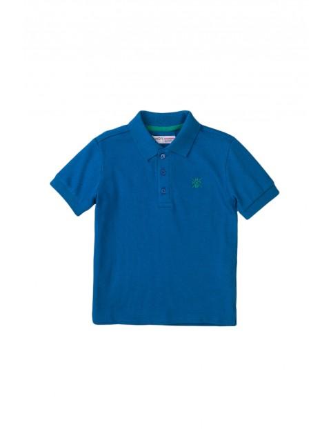 Bawełniany T-shirt niemowlęcy z kołnierzykiem niebieski