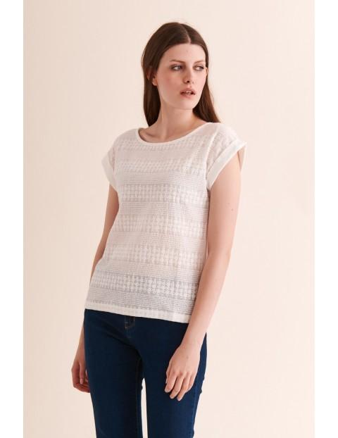 Bawełniana bluzka damska z haftowanym przodem - biała