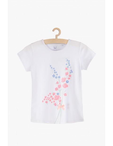 T-shirt dziewczęcy biały z kwiatami