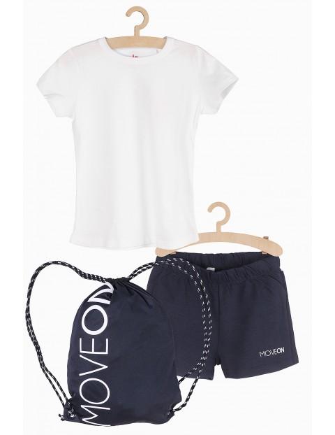 Komplet na zajęcia gimnastyczne- koszulka szorty i worek