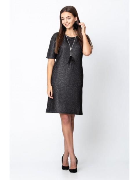 Dzianinowa sukienka w kolorze czarnym ze srebrną nitką