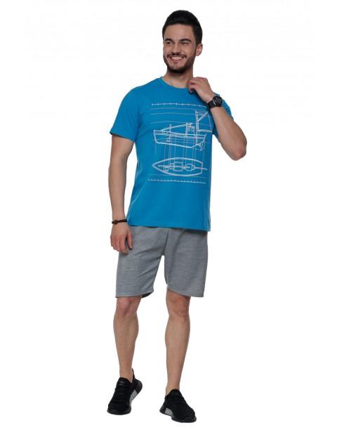 T-shirt męski bawełniany - niebieski