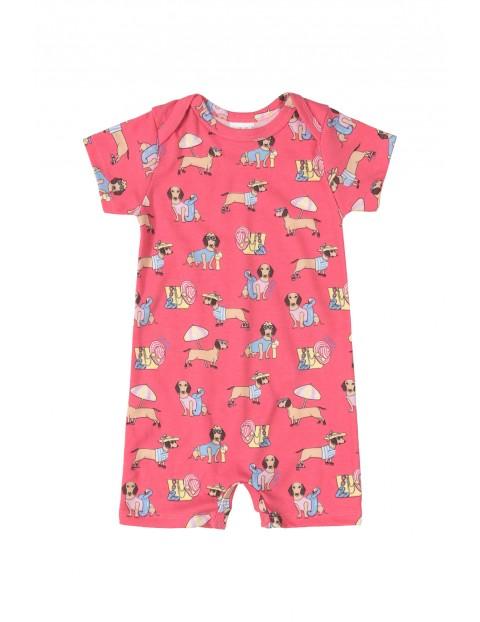 Rampers niemowlęcy  w pieski - różowy