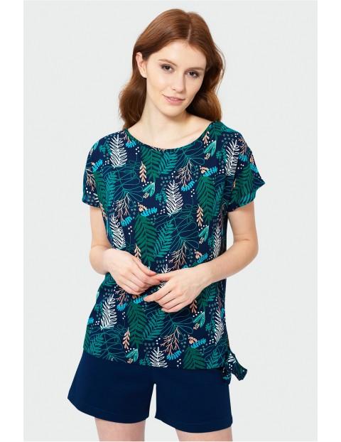 Granatowa bluzka typu kimono- Liście