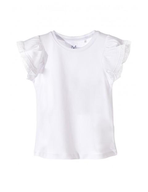 Koszulka dziewczęca biała z ozdobnym rękawem