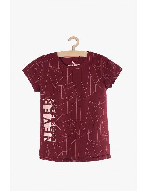 T-shirt dziewczęcy czerwony w geometryczne wzory