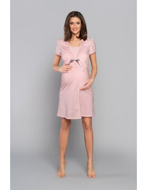 Koszula nocna ciążowa MARTA z krótkim rękawem - różowa